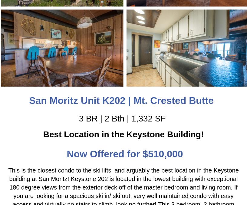 San Moritz Unit K202 | Mt. Crested Butte